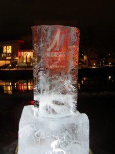 En isskulptur under Falu-Skid VM 2015 Symbol för Silvbergs gruva